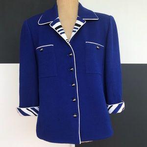 St. John Royal Blue Santana Knit Blazer / Jacket